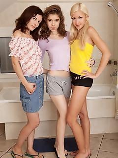 Teen lesbian threesome