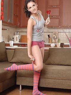 Brunette with lollipop